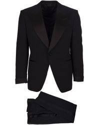 Tom Ford Abito smoking blu Atticus in lana, giacca ad un petto con revers a lancia, pantaloni a gamba dritta - Nero