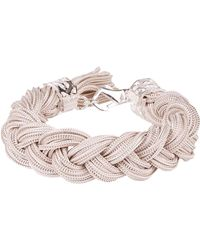 Emanuele Bicocchi Braided *icon White Bracelet In Silver 925 With Fringes And Engraved Brand Logo - Metallic