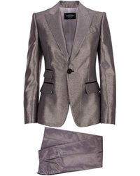 DSquared² Two Pieces Silver Suit With Waisted Blazer And Pants With Wide Leg And Central Fold - Multicolour