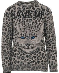 Alberta Ferretti Fuchsia Animal Print Jumper In Pure Virgin Wool With Leopard Head And 'save Me' Lettering. - Gray