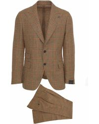 Gabriele Pasini Beige Striped Suit In Wool Blend With Petticoat And Pants - Natural