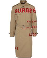 Burberry Trench beige Horseferry in cotone con cintura e stampe rosse del logo - Neutro