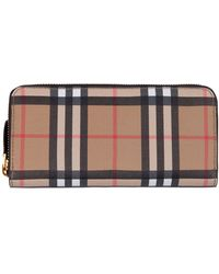 Burberry Elmore Vintage Check & Leather Ziparound Wallet - Black