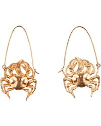 Givenchy Cancer Shaped Earrings In Golden Metal Usable As Charm Too With A Gros-grain Ribbon - Metallic