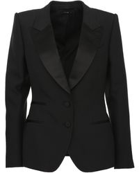 Tom Ford Black Waisted Blazer In Wool And Silk With Satin Lapels, Closed By Two Covered Buttons.