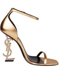 Saint Laurent Sandali *ICON Opyum in pelle metallizzata color oro con tacco logo sur tone - Metallizzato