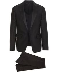 DSquared² Black Beverly Hills Smoking Suit In Wool And Silk With Peaked Satin Revers