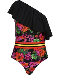 Amen One-shoulder Swimsuit With Black Flounce And Floral Print Interrupted By Colored Strips