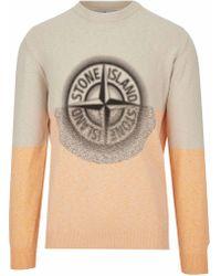 Stone Island Maglia multicolore misto cotone, stampa digitale del logo Rosa dei Venti