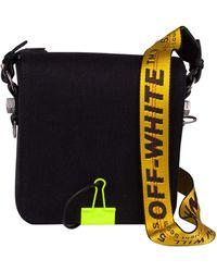 Off-White c/o Virgil Abloh - Binderclip Nlack Shoulder Bag In Denim With Adjustable Industrial Shoulder Strap - Lyst