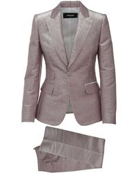 DSquared² Pink And Silver Two Pieces Suit In Silk Blend With Peaked Revers And Flared Trousers - Multicolour