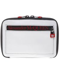 Alexander McQueen I-pad Case In White Leather Closed By Zip With External Pocket And Shoulder Strap. - Multicolour