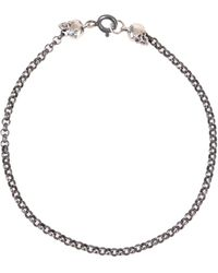 Ugo Cacciatori Silver Bracelet With Two Shiny Skulls At The End Of The Dark Chain - Metallic