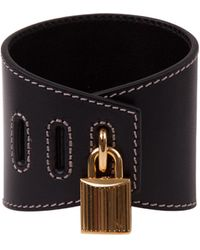 Tom Ford High Bracelet In Black Shiny Leather With Logo On The Brass Padlock And Tonal Stitching