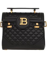 Balmain Black Quilted Leather 23 B-buzz Satchel Bag