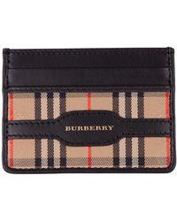 Burberry Portacarte con pattern a quadri in gabardine e dettaglio in pelle nera con logo dorato - Nero