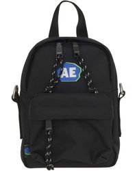 ADER error Stone Logo Mini Backpack Black Nylon Cross-body Bag With Front Pockets