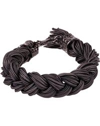 Emanuele Bicocchi Braided *icon Black Bracelet In Silver 925 With Fringes And Engraved Brand Logo