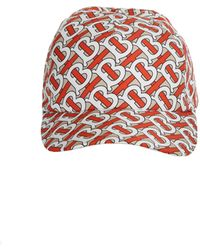 Burberry Baseball Cap In Silk Twill With White Printed Monogram On The Orange Background - Red