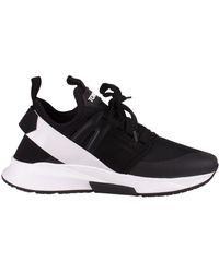Tom Ford Sneakers nere Jago in neoprene, suede e mesh nero con logo gommato e doppio tirante
