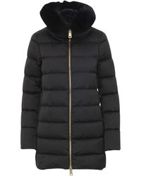 Herno Black Down-filled Quilted Nylon Down Jacket With High-neck And Fox-fur Trims