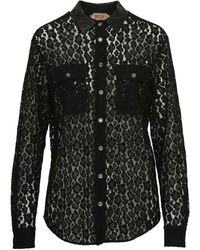 N°21 Black Shirt In Viscose Blend With See-through Embroidery And Faux Leather Collar.
