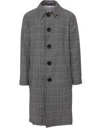 Gabriele Pasini Classic Three Quarter Coat In Black And White Checked Wool Closed By Large Buttons - Multicolor