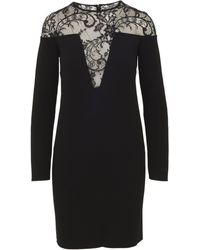Givenchy Black Stretch Viscose Blend Dress With Floral Lace Inserts And V-shaped Carving.
