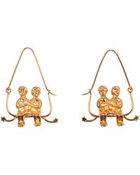 Givenchy Gemini Shaped Earrings In Golden Metal Usable As Charm Too With A Gros-grain Ribbon - Metallic