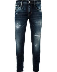 Antony Morato Geezer Slim-fit Jeans In Stonewashed Dark Blue Denim With Rips And Five Pockets.