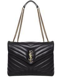 Saint Laurent Loulou Medium Shoulder Bag - Black