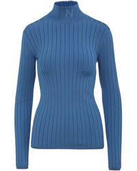Nina Ricci Cyan Jumper In Stretch Viscose With Embroidered Logo On The Turtleneck And Zip On The Back. - Blue