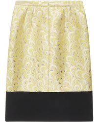 N°21 Yellow Jacquard Skirt With Golden Details And Black Panel On The Hem Of The Back.