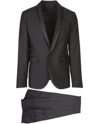 DSquared² Two Pieces Black Tokyo Dress In Wool With Revers With Satin Edges