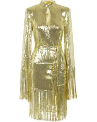 Balmain Slim Fit Dress Covered By Golden Sequins With Fringes On The Bottom And Waist Belt. - Metallic