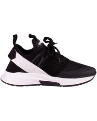 Tom Ford Jago Black Suede, Mesh And Neoprene Sneakers, Rubberized Logo And Double Pull Tabs