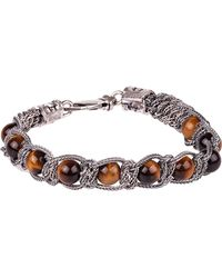 Emanuele Bicocchi Silver *icon Bracelet In Silver 925 With Brown Spheres And Engraved Logos - Metallic