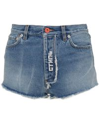 Heron Preston Denim Shorts With Fringed Hem And White Embroidered Ctnmb Logo On The Flap. - Blue