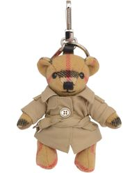 Burberry Thomas Bear Keyring In Cashmere With Check Vintage Pattern, Dressed In A Trench-coat. - Multicolor