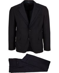 Alexander McQueen Two Pieces Dark Blue Dress In Wool Blend With Micro Pois And Double Revers With Stripes