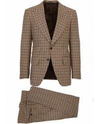 Tom Ford Abito marrone in misto lana a quadretti composto da giacca e pantaloni - Neutro