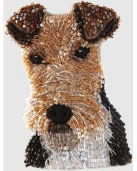 Mignonne Gavigan Dog Brooch - Brown
