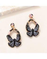 Mignonne Gavigan Butterfly Swing Earrings Black/white