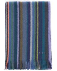 Paul Smith Scarf Orion Stripes - Blauw