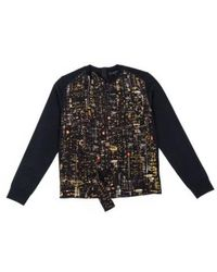 Marc Jacobs Cardigan en laine avec imprimé Skyline en soie - Noir