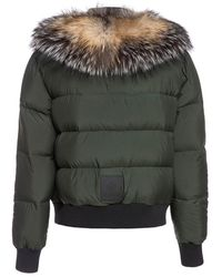 Mr & Mrs Italy Short Puffer Jacket With FOX FUR Verde