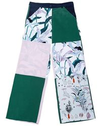 Tory Burch Pantaloni larghi in seta patchwork - Bianco