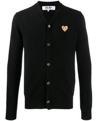 COMME DES GARÇONS PLAY Heart Embroidered Slim Fit Cardigan - Zwart