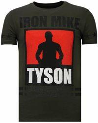 Local Fanatic Iron Mike Tyson - Rhinestone T-shirt - Groen