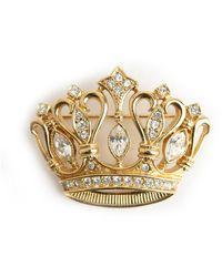 Kenneth Jay Lane Vintage Broche couronne ancienne - Métallisé